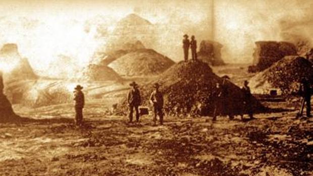 Imagen de Rio Tinto en 1888, durante la protesta ecologista contra la gran compañía inglesa