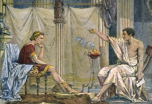 Alejandro y Aristóteles. El notable filósofo se ocupó de la formación intelectual del macedonio.
