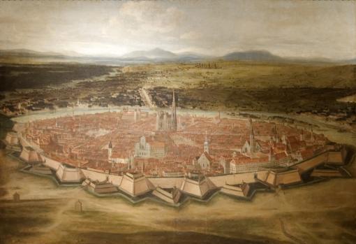 Vista de Viena con sus recintos de Josefstadt, 1690