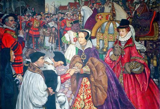 María entrando en Londres para tomar el poder en 1553, acompañada de su media hermana Isabel.