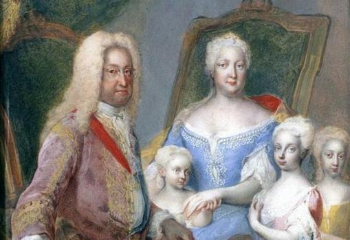 María Teresa, con sus hermanas María Ana y María Amalia junto a sus padres, por Martin van Meytens.