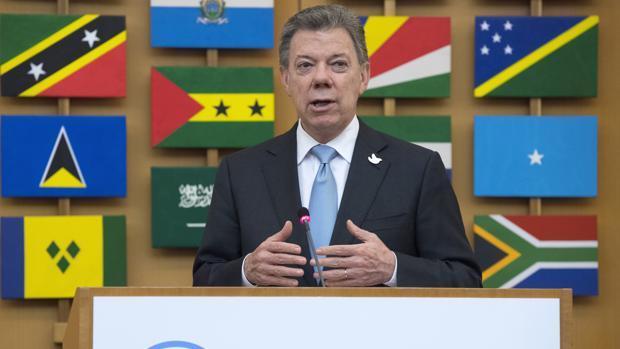 El presidente de Colombia, Juan Manuel Santos, durante su intervención este jueves en la sede de la FAO, en Roma