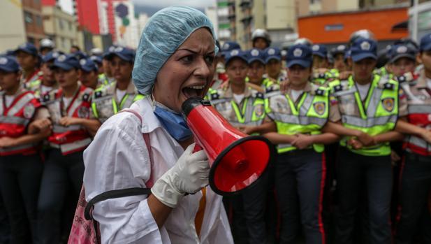 Protesta de trabajadores de la salud, el pasado 7 de febrero en Caracas
