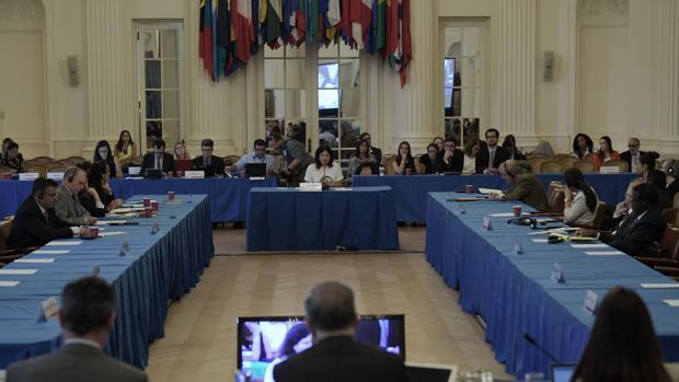 Johanna Aguirre (al fondo), activista de Derechos Humanos y viuda del activista José Alejandro Márquez Fagundez, habla durante una audiencia de la OEA