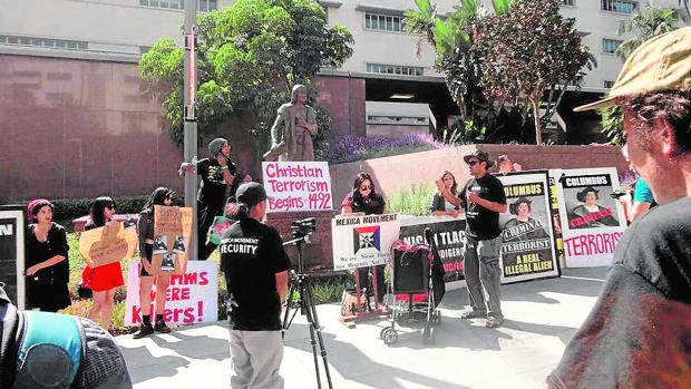 Protesta contra la figura de Colón en California
