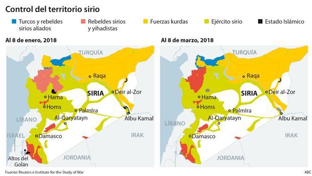 Guerra De Siria Mapa.Siria Entra En El Octavo Ano De Guerra Abierta Y Con Nuevos
