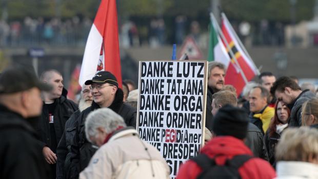 Manifestación del movimiento islamófobo Pegida en Alemania