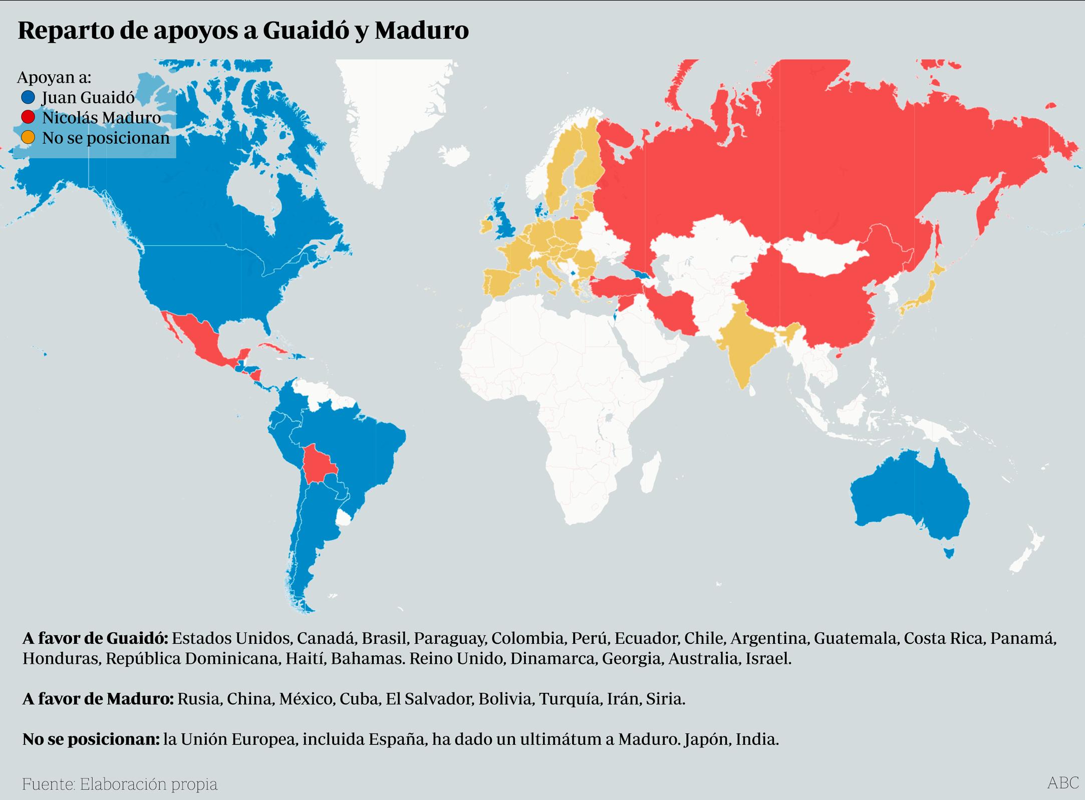 Países que apoyan a Guaidó o a Maduro