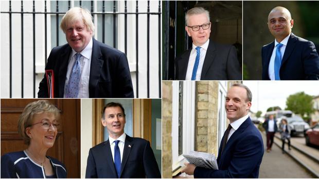 De izquierda a derecha: Boris Johnson, Michael Gove y Sajid Javid (arriba); Andrea Leadsom, Jeremy Hunt y Dominic Raab (abajo)