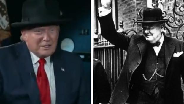 Trump se pone un sombrero como el de Churchill: «A Winston le ...