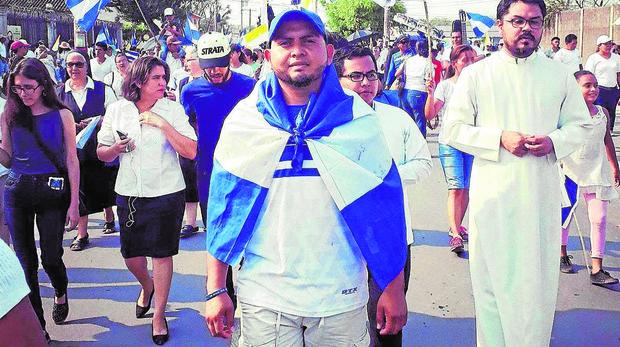 Roger Martínez, durante una de las protestas