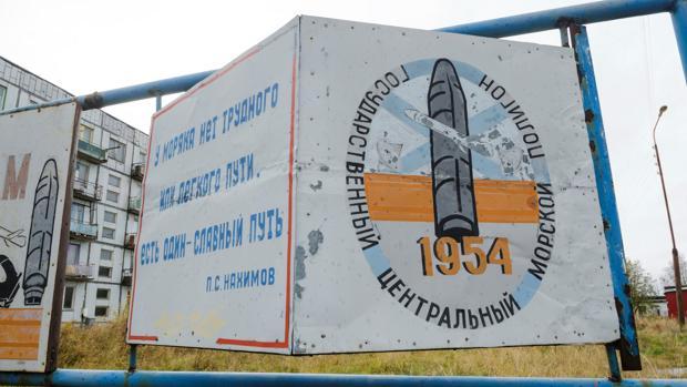 Cartel en el pueblo ruso de Nyonoksa, cercano a la localidad de Severodvinsk