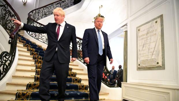 Boris Johnson y Donald Trump, este domingo en el G-7