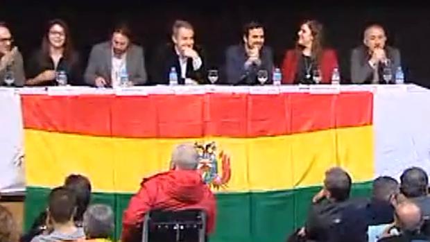 El acto que unió a Zapatero, Pablo Iglesias y Garzón a favor de Evo Morales