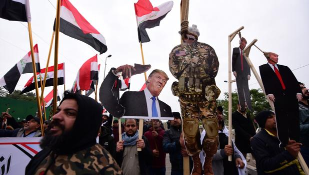Las calles de Bagdad piden a Trump que saque a sus tropas del país