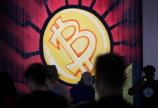 Bitcoin logo at the Miami convention where Bukele announced his initiative