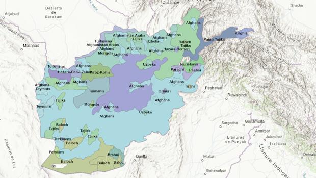 El mapa de las etnias de Afganistán