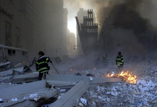 Remains of the Twin Towers after the demolition