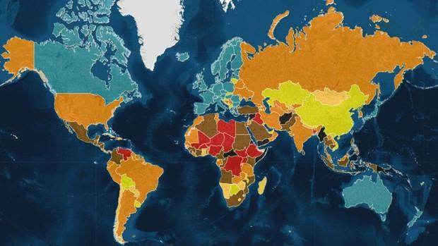 El mapa de los países más peligrosos del mundo en 2021