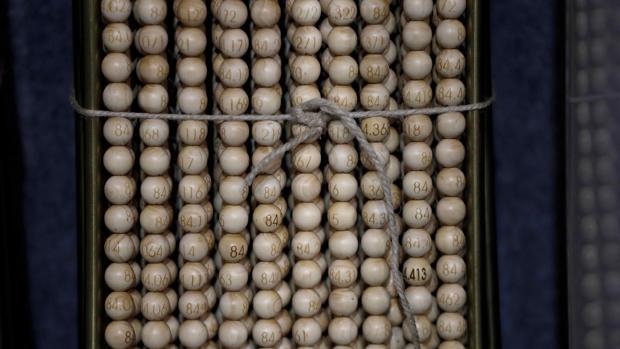 Las bolas del sorteo de la Lotería de Navidad, a su llegada al Teatro Real de Madrid, esta semana
