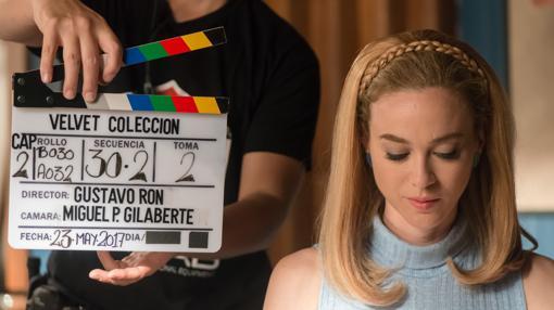 Marta Hazas, durante el rodaje de «Velvet Colección»