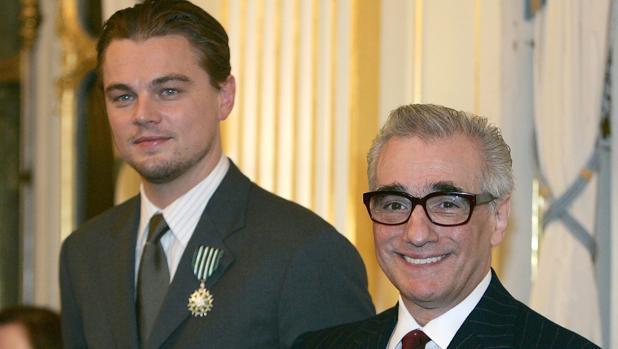 Martin Scorsese posa junto a Leonardo DiCaprio