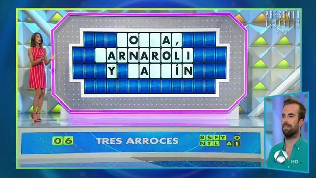 Rubi, segundos antes de resolver el último panel de «La ruleta de la suerte»