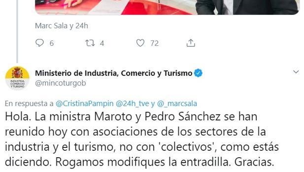 Mensaje del ministerio de Industria a Cristina Pampín