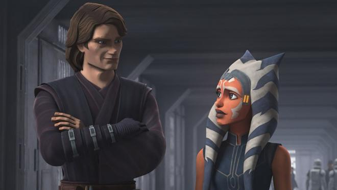 Anakin y Ashoka en Clone Wars