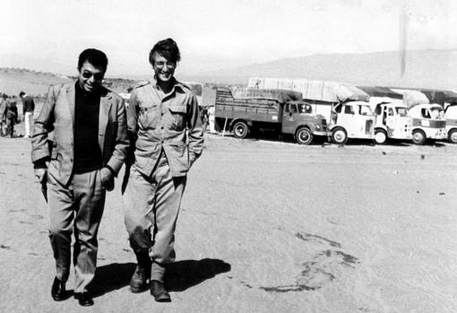 Almeria, October 6, 1966. John Lennon, dressed as a soldier, as he was filming Richard Lester's film 'How I Won the War', walks around talking with the journalist Tico Medina