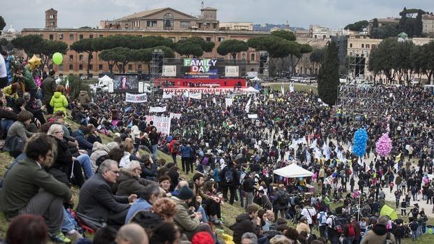 Imágenes de la protesta de este sábado en Roma