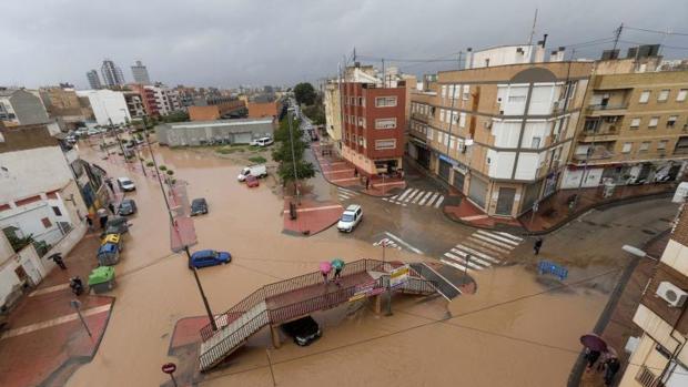 Calles inundadas en Murcia