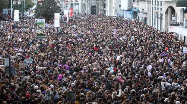 Manifestación del Día de la Mujer, el 8 de marzo, en La Coruña
