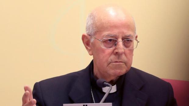 Cardenal Ricardo Blázquez, este miércoles en la sede de la Conferencia Episcopal