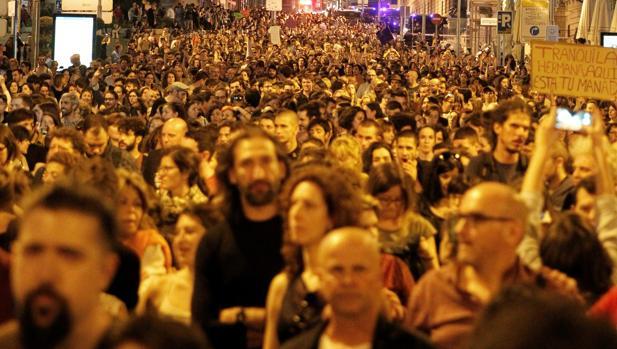Manifestación de repulsa en Madrid contra la sentencia de la Manada