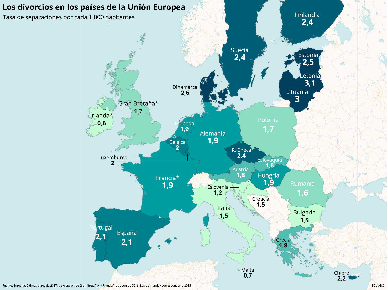 Mapa Union Europea 2017.Espana Entre Los Diez Paises De La Ue Con Mas Divorcios