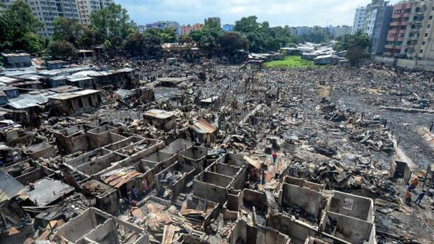 Imagen de cómo ha quedado la barriada tras el incendio