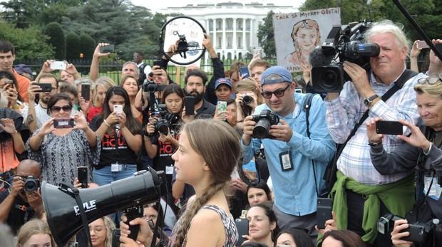 Greta Thunberg frente a la Casa Blanca hace unos días