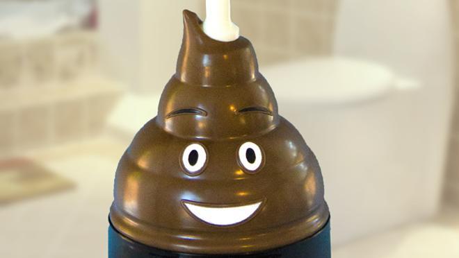 Desatascador con forma de emoji que brilla en la oscuridad de Mister Poop