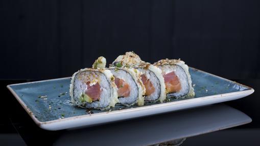 Uno de los platos de sushi de Kirikata