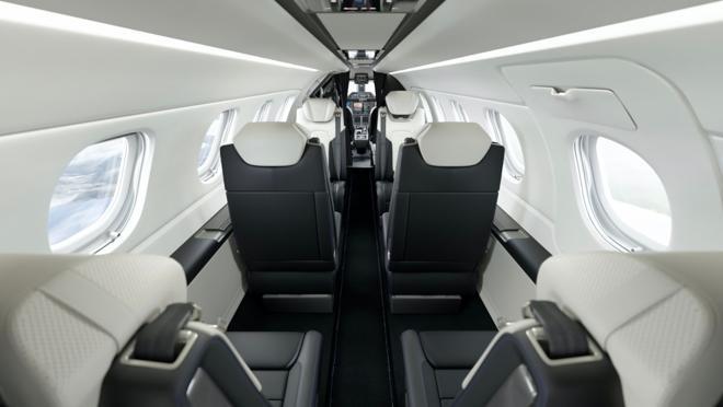 Interior of the private jet Phenom 300E