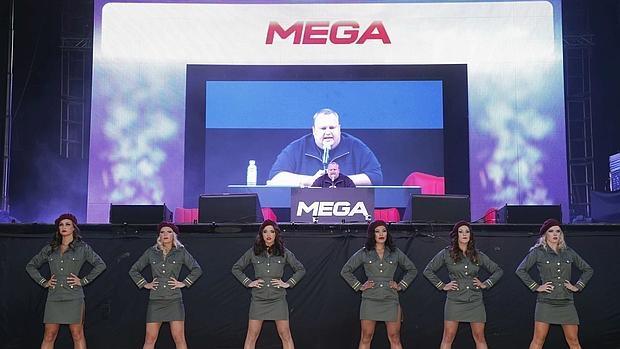 Kim Dotcom, el 20 de enero de 2013, en la presentación de Mega