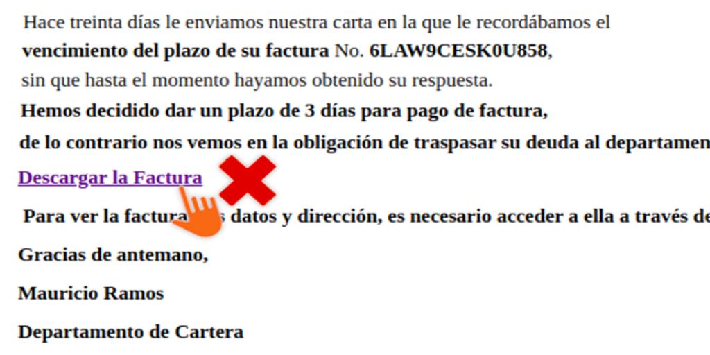 Si recibes este correo en el que se exige el pago de una factura están intentando «hackearte»