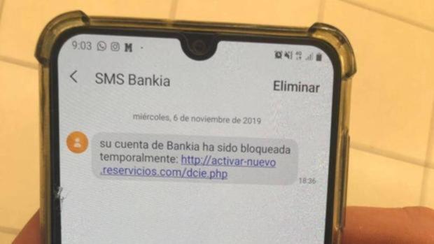 Mensaje de «phishing» en el que se suplanta a Bankia