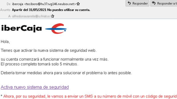 Alertan sobre una nueva ciberestafa en la que suplantan a Ibercaja para robar datos bancarios