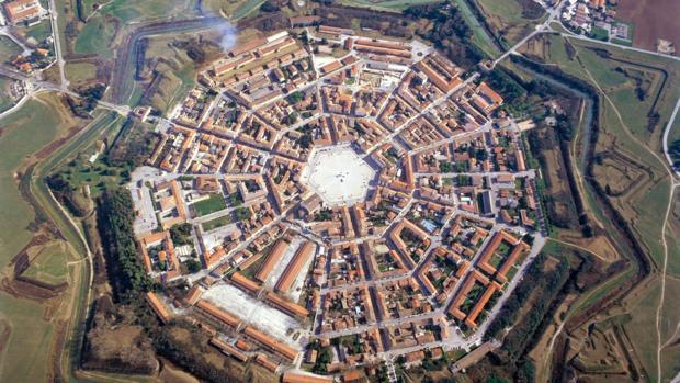 Vista aérea de la ciudad fortificada de Palmanova, en el norte de Italia
