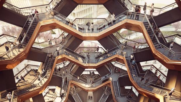 Interior de The Vessel, una escultura-edificio que forma parte del nuevo complejo urbanístico Hudson Yards