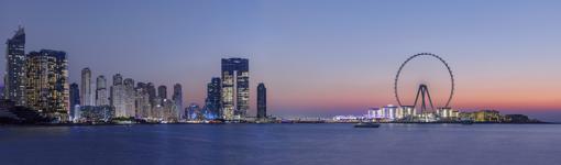 Dubai Skyline, with the new Ferris wheel on the right